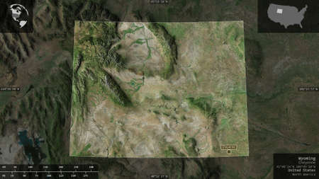 Wyoming, state of United States. Satellite imagery. Shape presented against its country area with informative overlays. 3D rendering