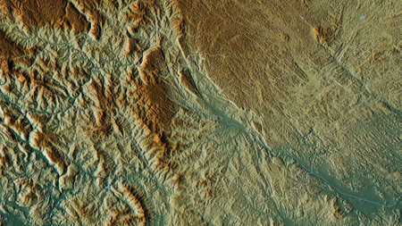 Cao Bằng, province of Vietnam. Colored relief with lakes and rivers. Shape outlined against its country area. 3D rendering