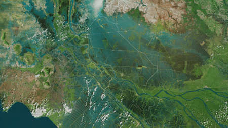 �ồng Tháp, province of Vietnam. Satellite imagery. Shape outlined against its country area. 3D rendering