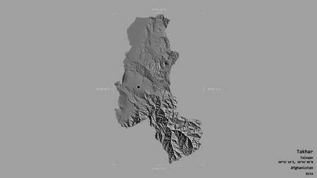 Area of Takhar, province of Afghanistan, isolated on a solid background in a georeferenced bounding box. Labels. Bilevel elevation map. 3D rendering