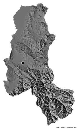 Shape of Takhar, province of Afghanistan, with its capital isolated on white background. Bilevel elevation map. 3D rendering