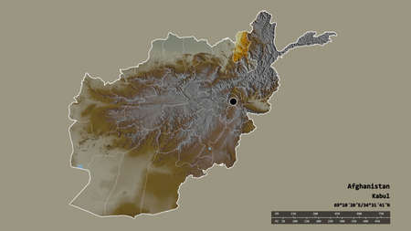 Desaturated shape of Afghanistan with its capital, main regional division and the separated Takhar area. Labels. Topographic relief map. 3D rendering