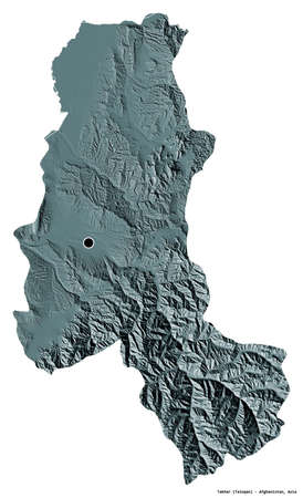 Shape of Takhar, province of Afghanistan, with its capital isolated on white background. Colored elevation map. 3D rendering