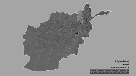 Desaturated shape of Afghanistan with its capital, main regional division and the separated Takhar area. Labels. Bilevel elevation map. 3D rendering Stock fotó