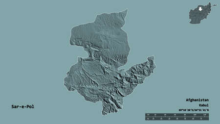 Shape of Sar-e-Pol, province of Afghanistan, with its capital isolated on solid background. Distance scale, region preview and labels. Colored elevation map. 3D rendering