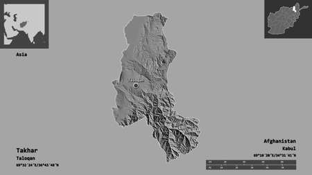 Shape of Takhar, province of Afghanistan, and its capital. Distance scale, previews and labels. Bilevel elevation map. 3D rendering