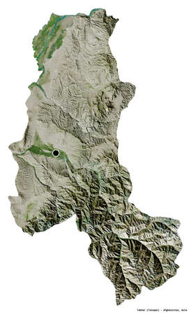 Shape of Takhar, province of Afghanistan, with its capital isolated on white background. Satellite imagery. 3D rendering