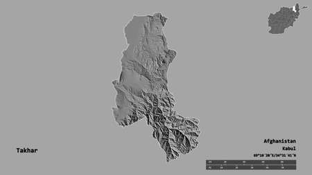 Shape of Takhar, province of Afghanistan, with its capital isolated on solid background. Distance scale, region preview and labels. Bilevel elevation map. 3D rendering