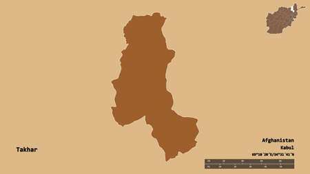 Shape of Takhar, province of Afghanistan, with its capital isolated on solid background. Distance scale, region preview and labels. Composition of patterned textures. 3D rendering