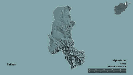 Shape of Takhar, province of Afghanistan, with its capital isolated on solid background. Distance scale, region preview and labels. Colored elevation map. 3D rendering