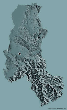 Shape of Takhar, province of Afghanistan, with its capital isolated on a solid color background. Colored elevation map. 3D rendering Stock fotó