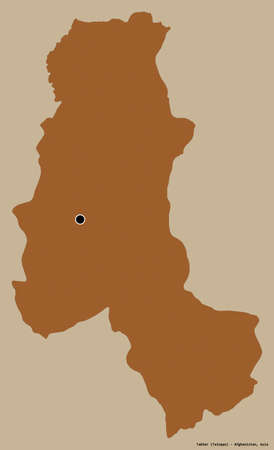 Shape of Takhar, province of Afghanistan, with its capital isolated on a solid color background. Composition of patterned textures. 3D rendering