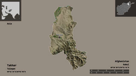 Shape of Takhar, province of Afghanistan, and its capital. Distance scale, previews and labels. Satellite imagery. 3D rendering