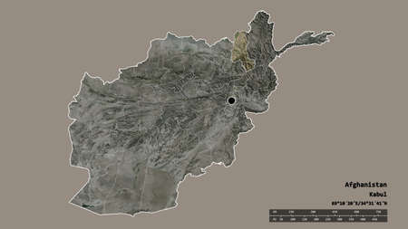 Desaturated shape of Afghanistan with its capital, main regional division and the separated Takhar area. Labels. Satellite imagery. 3D rendering
