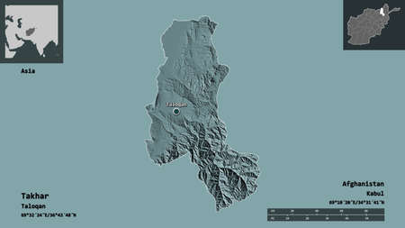Shape of Takhar, province of Afghanistan, and its capital. Distance scale, previews and labels. Colored elevation map. 3D rendering