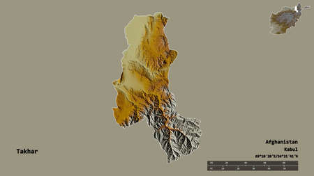 Shape of Takhar, province of Afghanistan, with its capital isolated on solid background. Distance scale, region preview and labels. Topographic relief map. 3D rendering