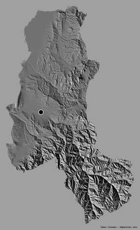 Shape of Takhar, province of Afghanistan, with its capital isolated on a solid color background. Bilevel elevation map. 3D rendering