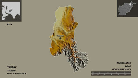 Shape of Takhar, province of Afghanistan, and its capital. Distance scale, previews and labels. Topographic relief map. 3D rendering