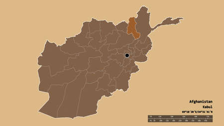 Desaturated shape of Afghanistan with its capital, main regional division and the separated Takhar area. Labels. Composition of patterned textures. 3D rendering