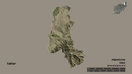 Shape of Takhar, province of Afghanistan, with its capital isolated on solid background. Distance scale, region preview and labels. Satellite imagery. 3D rendering