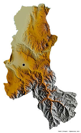 Shape of Takhar, province of Afghanistan, with its capital isolated on white background. Topographic relief map. 3D rendering