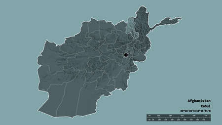 Desaturated shape of Afghanistan with its capital, main regional division and the separated Takhar area. Labels. Colored elevation map. 3D rendering