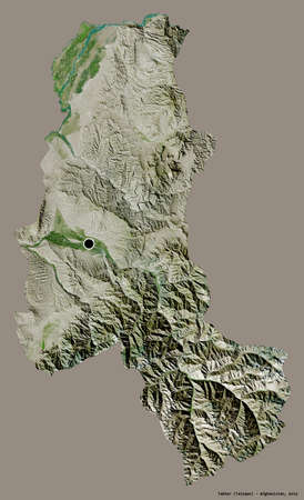 Shape of Takhar, province of Afghanistan, with its capital isolated on a solid color background. Satellite imagery. 3D rendering Stock fotó
