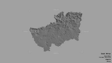 Area of Souk Ahras, province of Algeria, isolated on a solid background in a georeferenced bounding box. Labels. Bilevel elevation map. 3D rendering
