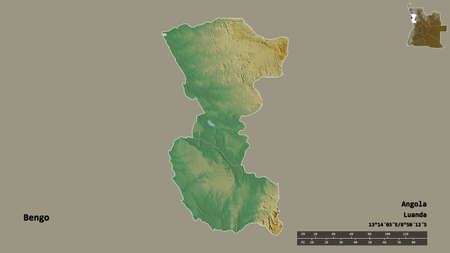 Shape of Bengo, province of Angola, with its capital isolated on solid background. Distance scale, region preview and labels. Topographic relief map. 3D rendering