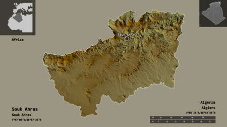 Shape of Souk Ahras, province of Algeria, and its capital. Distance scale, previews and labels. Topographic relief map. 3D rendering
