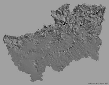 Shape of Souk Ahras, province of Algeria, with its capital isolated on a solid color background. Bilevel elevation map. 3D rendering