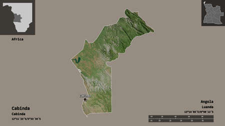 Shape of Cabinda, province of Angola, and its capital. Distance scale, previews and labels. Satellite imagery. 3D rendering