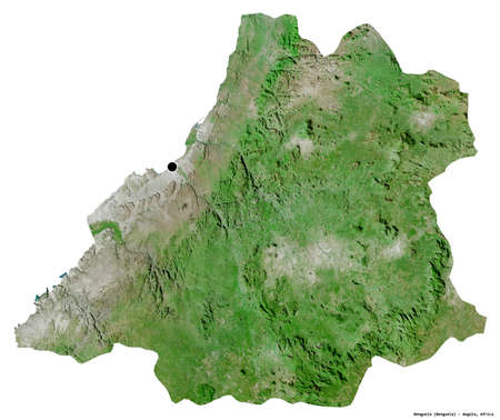 Shape of Benguela, province of Angola, with its capital isolated on white background. Satellite imagery. 3D rendering
