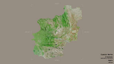 Area of Cuanza Norte, province of Angola, isolated on a solid background in a georeferenced bounding box. Labels. Satellite imagery. 3D rendering Foto de archivo
