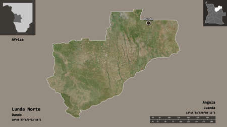 Shape of Lunda Norte, province of Angola, and its capital. Distance scale, previews and labels. Satellite imagery. 3D rendering