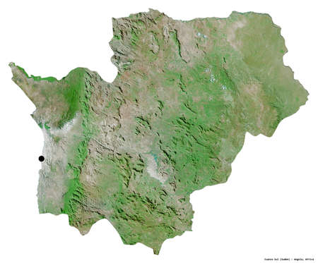 Shape of Cuanza Sul, province of Angola, with its capital isolated on white background. Satellite imagery. 3D rendering