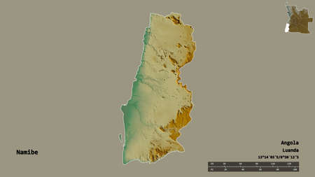 Shape of Namibe, province of Angola, with its capital isolated on solid background. Distance scale, region preview and labels. Topographic relief map. 3D rendering
