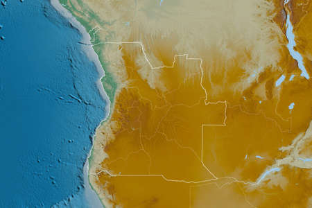 Extended area of Angola with country outline, international and regional borders. Topographic relief map. 3D rendering