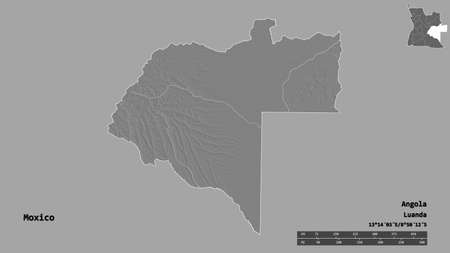 Shape of Moxico, province of Angola, with its capital isolated on solid background. Distance scale, region preview and labels. Bilevel elevation map. 3D rendering