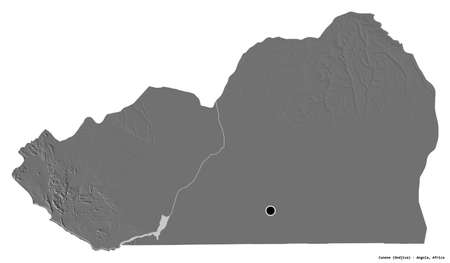 Shape of Cunene, province of Angola, with its capital isolated on white background. Bilevel elevation map. 3D rendering