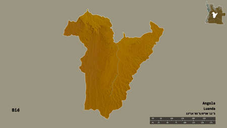 Shape of Bié, province of Angola, with its capital isolated on solid background. Distance scale, region preview and labels. Topographic relief map. 3D rendering
