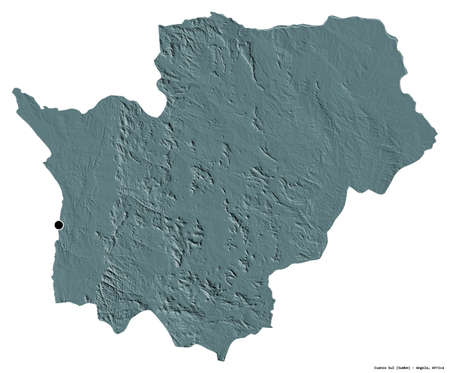 Shape of Cuanza Sul, province of Angola, with its capital isolated on white background. Colored elevation map. 3D rendering