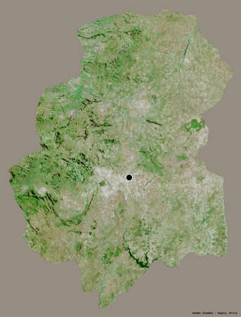Shape of Huambo, province of Angola, with its capital isolated on a solid color background. Satellite imagery. 3D rendering Banco de Imagens