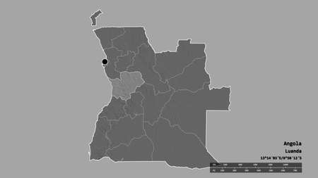 Desaturated shape of Angola with its capital, main regional division and the separated Cuanza Sul area. Labels. Bilevel elevation map. 3D rendering