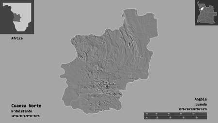 Shape of Cuanza Norte, province of Angola, and its capital. Distance scale, previews and labels. Bilevel elevation map. 3D rendering
