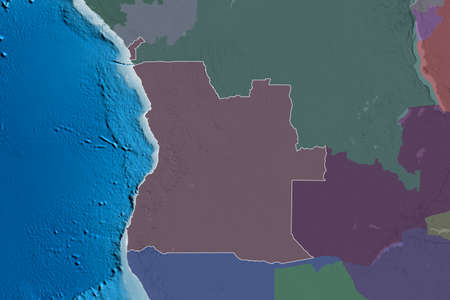 Extended area of outlined Angola. Colored elevation map. 3D rendering