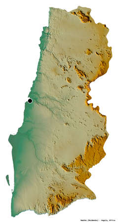 Shape of Namibe, province of Angola, with its capital isolated on white background. Topographic relief map. 3D rendering