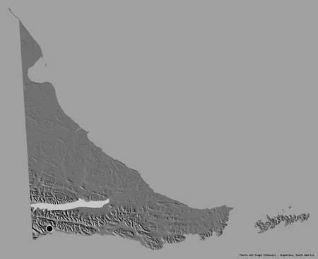 Shape of Tierra del Fuego, national territory of Argentina, with its capital isolated on a solid color background. Bilevel elevation map. 3D rendering