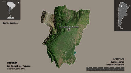 Shape of Tucumán, province of Argentina, and its capital. Distance scale, previews and labels. Satellite imagery. 3D rendering