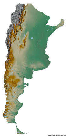 Shape of Argentina with its capital isolated on white background. Topographic relief map. 3D rendering Imagens